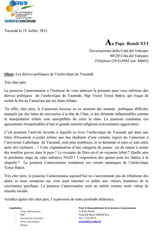 la jeunesse ecrit au vatican contre tonye bakot