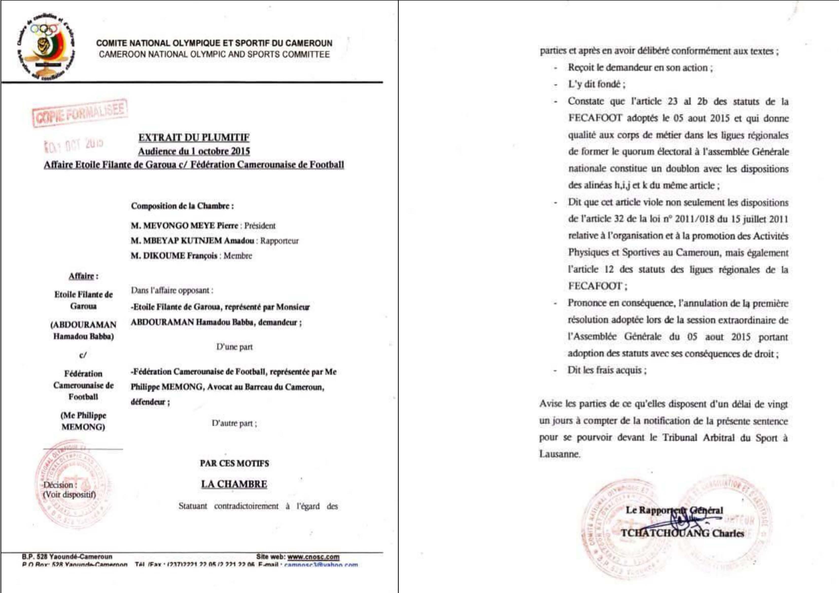 Elections a la fecafoot annulees par le comite olympique for Chambre d arbitrage